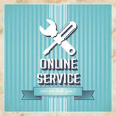 Online Service Concept on Blue in Flat Design. — Stock Photo