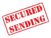 Secured Sending -  Red Rubber Stamp. — Stok fotoğraf