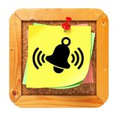 Ringing Bell - Yellow Sticker on Message Board. — Stock Photo