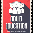 Stock Photo: Adult Education on Red in Flat Design.