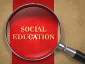 Social Education - Magnifying Glass. — Stock Photo