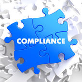 Compliance on Blue Puzzle. — Stock Photo