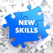 New Skills on Blue Puzzle. — Stock Photo