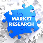 Market Research on Blue Puzzle. — Stockfoto