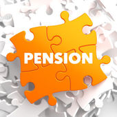 Pension on Orange Puzzle. — Stock Photo