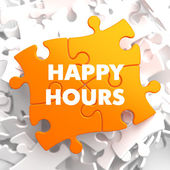 Happy Hours on Orange Puzzle. — Stock Photo