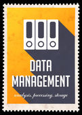 Data Management on Yellow in Flat Design. — Stock Photo