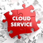 Cloud Service on Red Puzzle. — Stok fotoğraf