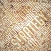 Strateji - grunge bej kahverengi wordcloud. — Stok fotoğraf