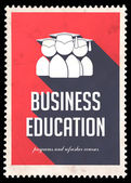 Business Education on Red in Flat Design. — Stock Photo