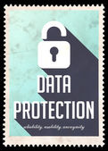 Data Protection on Blue in Flat Design. — Stock Photo
