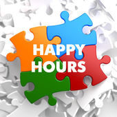 Happy Hours on Multicolor Puzzle. — Stock Photo