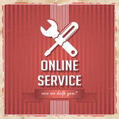 Online Service Concept on Red in Flat Design. — Stock Photo