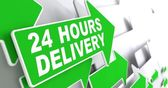 Green Arrow with slogan - 24 hours Delivery. — Stock Photo