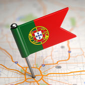 Portugal Small Flag on a Map Background. — Foto de Stock