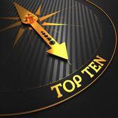 Top Ten Concept on Golden Compass. — Stock Photo