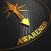 Awareness Concept on Golden Compass. — Stock Photo