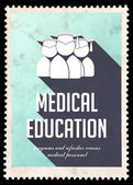 Medical Education on Blue in Flat Design. — Stock Photo