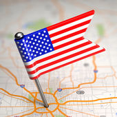 United States of America Small Flag on a Map Background. — Stock Photo