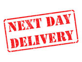 Next Day Delivery on Red Rubber Stamp. — Stock Photo