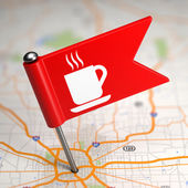 Cup Icon - Small Flag on a Map Background. — Photo