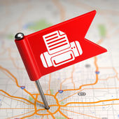 Printer Sign - Small Flag on a Map Background. — Stock Photo