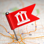 Bank Sign - Small Flag on a Map Background. — Stock Photo