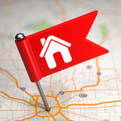 House Sign - Small Flag on a Map Background. — Stock Photo