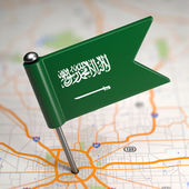 Saudi Arabia Small Flag on a Map Background. — Стоковое фото