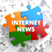 Internet News on Multicolor Puzzle. — Stock Photo