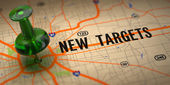 New Targets - Green Pushpin on a Map Background. — Stock Photo