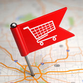 Shopping Concept - Small Flag on a Map Background. — Stock Photo