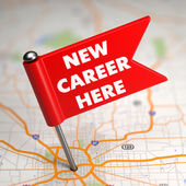 New Career - Small Flag on a Map Background. — Stock Photo