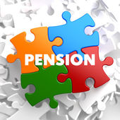 Pension on Multicolor Puzzle. — Stock Photo