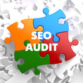 Seo auditoria no puzzle multicolor. — Fotografia Stock