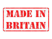 Made in Britain - inscription on Red Rubber Stamp. — Stock Photo