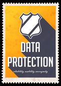 Data Protection on Yellow in Flat Design. — 图库照片
