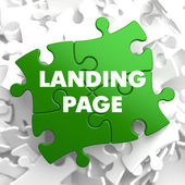Landing Page on Green Puzzle. — Stock Photo