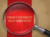 Procurement Management. Magnifying Glass on Old Paper. — Stock Photo