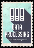 Data Processing on Blue in Flat Design. — Foto de Stock