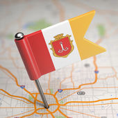 Odessa Small Flag on a Map Background. — Foto de Stock