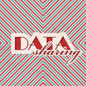 Data Sharing Concept on Striped Background. — Stock Photo