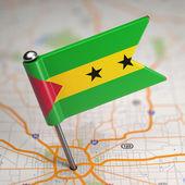 Sao Tome and Principe Small Flag on a Map. — Foto Stock