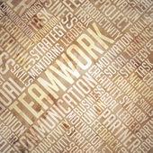 Teamwork  - Grunge Beige Wordcloud Concept. — Stock Photo
