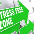 Stress Free Zone on Green Direction Sign - Arrow. — Stock Photo
