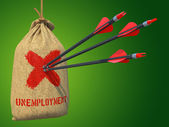 Unemployment - Arrows Hit in Red Mark Target. — Stock Photo