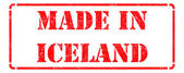 Made in Iceland - inscription on Red Rubber Stamp. — Stock Photo