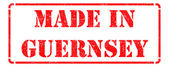 Made in Guernsey - inscription on Red Rubber Stamp. — Stock Photo
