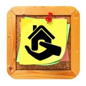 Home in Hand Icon. Sticker on Message Board. — Stock Photo