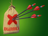 Diarrhea - Arrows Hit in Red Mark Target. — Stock Photo